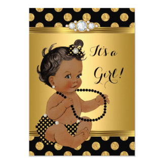 Baby Shower Girl Gold Foil Black Pearls Ethnic Card