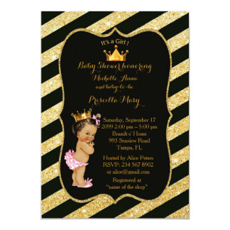 Baby Shower GIRL,golden strips,black gold v2 Card