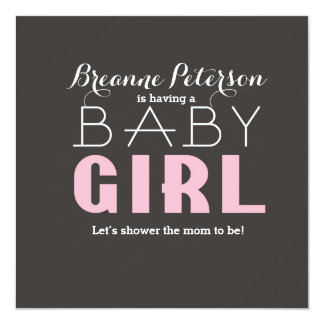 Baby Shower Girl Grey Pink Modern Clean Invitation