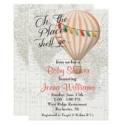 Baby Shower Girl Hot Air Balloon Invitation