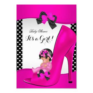 Baby Shower Girl Hot Pink Baby Shoe Polka Dots Card