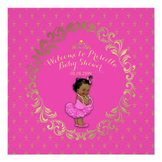 Baby Shower GIRL,hot pink & gold, royal background Poster