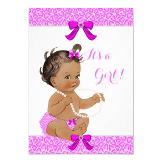 Baby Shower Girl Hot Pink Leopard Pearls Brunette Card