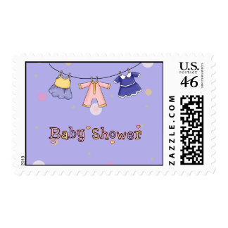 Baby Shower- Girl Invitation US Postage Stamps