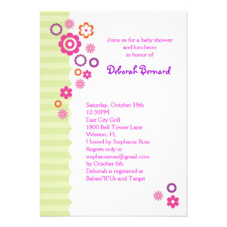 Baby Shower Girl Invitation with Flowers and Strip