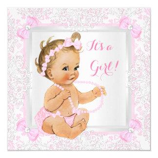 Baby Shower Girl Lace Damask Pink Blonde Card