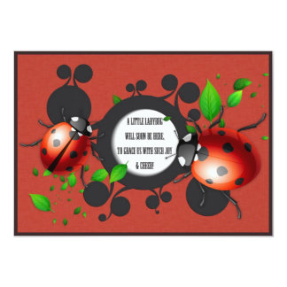 Baby Shower GIRL Ladybug Invitation Card
