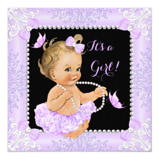 Baby Shower Girl Lavender Butterfly Tutu Blonde Card
