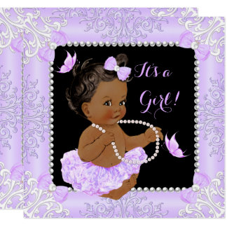 Baby Shower Girl Lavender Butterfly Tutu Ethnic Card