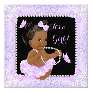 Baby Shower Girl Lavender Butterfly Tutu Ethnic Card