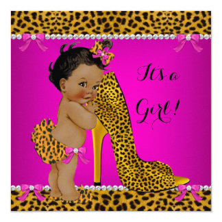 Baby Shower Girl Leopard High Heel Pink Ethnic Card