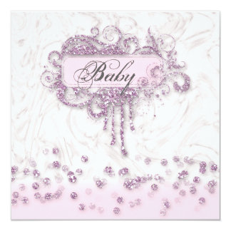 Baby Shower Girl Marble Pink Glitter Confetti Card
