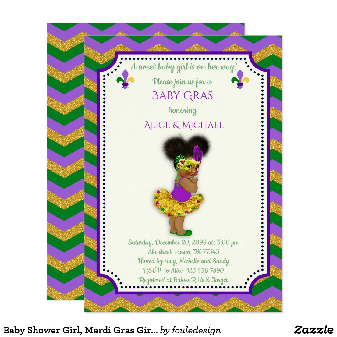 Baby Shower Girl, Mardi Gras Girl, gold, chevron Card