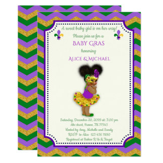 Baby Shower Girl, Mardi Gras Girl, gold, chevron Card