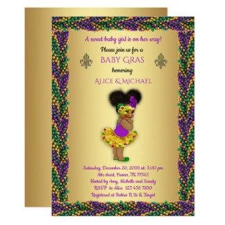 Baby Shower Girl,Mardi Gras Girl,gold, pearl color Card