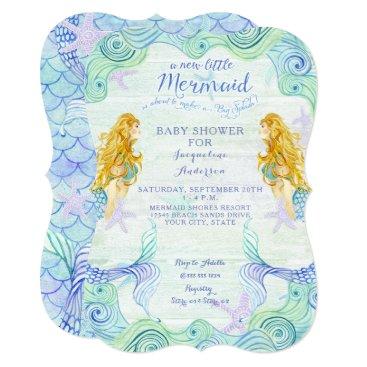 Beach Themed Baby Shower Girl Mermaid Watercolor Waves Wood Art Card