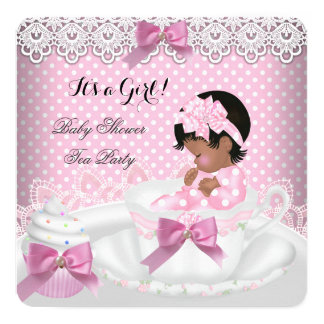 Baby Shower Girl Pink Baby Teacup Cupcake 2a Card