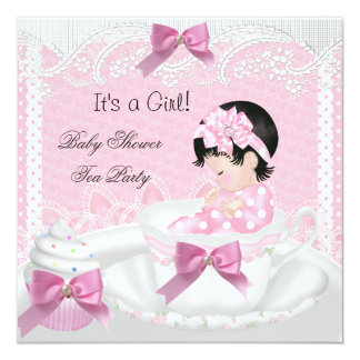 """Baby Shower Girl Pink Baby Teacup Cupcake 34 5.25"""" Square Invitation Card"""