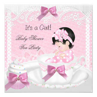 Baby Shower Girl Pink Baby Teacup Cupcake 34 5.25x5.25 Square Paper Invitation Card