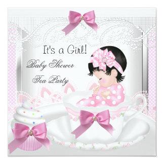 Baby Shower Girl Pink Baby Teacup Cupcake 35 Card
