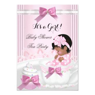 Baby Shower Girl Pink Baby Teacup Cupcake 4a Card