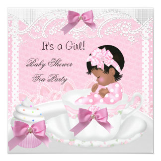Baby Shower Girl Pink Baby Teacup Cupcake AA 5.25x5.25 Square Paper Invitation Card