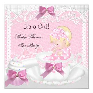 Baby Shower Girl Pink Baby Teacup Cupcake Blonde Card