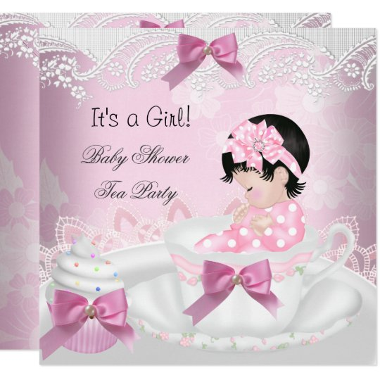 Baby Shower Girl Pink Baby Teacup Cupcake Invitation Zazzle Com