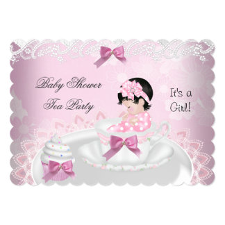 Baby Shower Girl Pink Baby Teacup Cupcake L2s 5x7 Paper Invitation Card