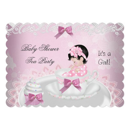 Baby Shower Girl Pink Baby Teacup Cupcake L2s Invitation