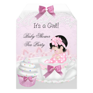 Baby Shower Girl Pink Baby Teacup Cupcake Tag 5x7 Paper Invitation Card