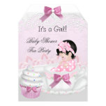 Baby Shower Girl Pink Baby Teacup Cupcake Tag Card