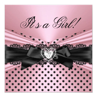 Baby Shower Girl Pink Black Lace Polka Dots 5.25x5.25 Square Paper Invitation Card