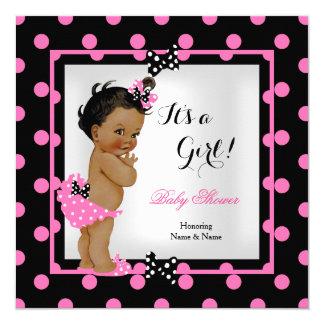 Baby Shower Girl Pink Black Polka Dots Ethnic Card
