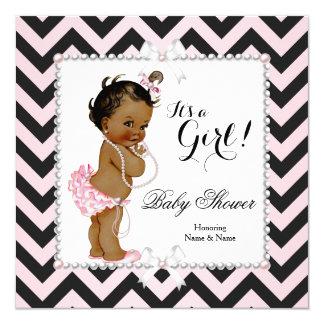 Baby Shower Girl Pink Black Stripe White Ethnic Card