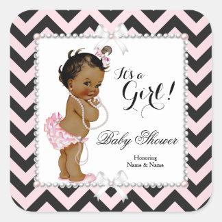 Baby Shower Girl Pink Black Stripe White Ethnic Square Sticker