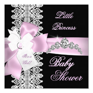 Baby Shower Girl Pink Black White Lace 5.25x5.25 Square Paper Invitation Card