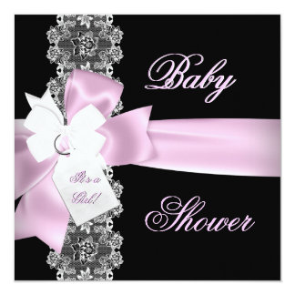 Baby Shower Girl Pink Black White Lace Personalized Announcement