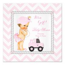 Baby Shower Girl Pink Cap Truck Bear Blonde Card