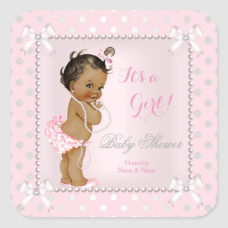 Baby Shower Girl Pink Gray Pearl Ethnic Square Sticker