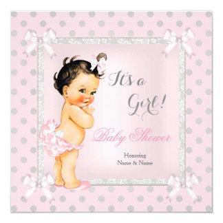 Baby Shower Girl Pink Gray Polka Dot Brunette Card