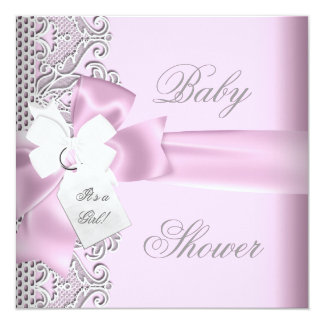 Baby Shower Girl Pink Gray White Lace Custom Invitations