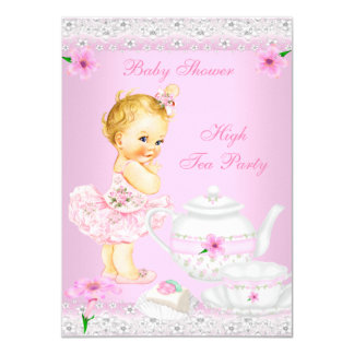 Baby Shower Girl Pink High Tea Party Blonde 4.5x6.25 Paper Invitation Card