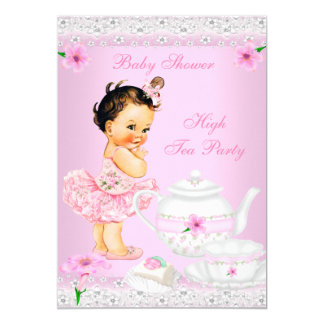 Baby Shower Girl Pink High Tea Party Brunette 5x7 Paper Invitation Card
