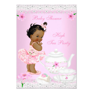Baby Shower Girl Pink High Tea Party Ethnic 5x7 Paper Invitation Card