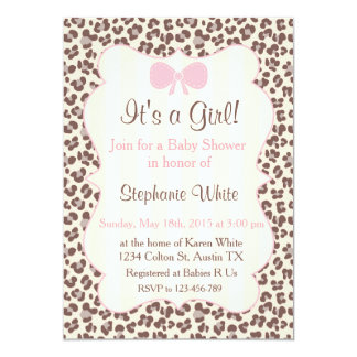 Baby Shower girl pink leopard 5x7 Paper Invitation Card