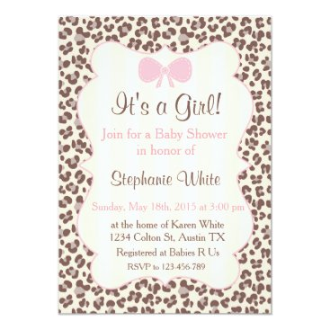 Toddler & Baby themed Baby Shower girl pink leopard Card
