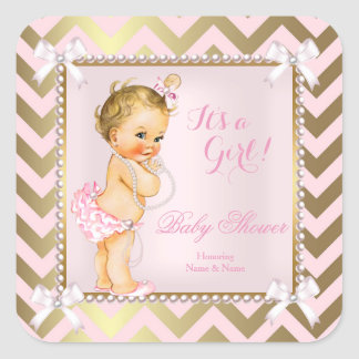 Baby Shower Girl Pink Pearl Gold Chevron Blonde Square Sticker