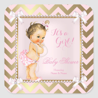 Baby Shower Girl Pink Pearl Gold Chevron Brunette Square Sticker