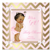 Baby Shower Girl Pink Pearl Gold Chevron Ethnic Card